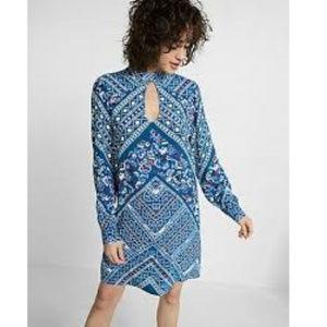 Express tear drop cut out long sleeve shift dress